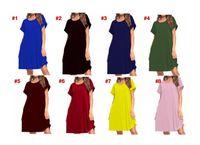 Lu Post Women Maxi 드레스 여름 캐주얼 V 넥 단단한 긴 패션 포켓 짧은 소매 느슨한 여성 Vestidos 플러스 크기