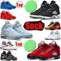 Con Socktag Air Jordan Retro Men Basket Scarpe da basket 5 5s Oreo Quai 54 Bluebird What The Fire Red Stealth Jade Horizon Mens Trainer Sneakers sportiva