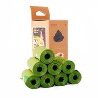 패션 8 롤 / 120pcs 녹색 플라스틱 폐기물 가방 두꺼운 애완 동물 강아지 가방 쓰레기 튼튼한 청소 야외에서