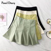 Perle Diary Campus Peppy Style coréen Plaine haute taille haute coton décontracté Mini jupe 210324