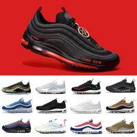 حذاء الجري  97 للرجال في يوم  air max 97 airmax  USA USA Ghost Worldwide أبيض أسود عيد الفصح MSCHF x INRI Jesus 97s UNDEFEATED الرجال النساء أحذية رياضية مصممة