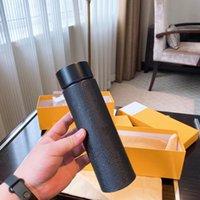 Moda Tasarımcısı Tumblers Düz Alt Kupalar PU Deri Su Kupası 500 ml Akıllı Paslanmaz Çelik Kupa ile Kutusu Mutfak Drinkware