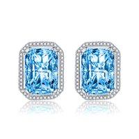 Boucles d'oreilles à aiguille d'argent Femmes bijoux de mer rectangulaire bleu champagne