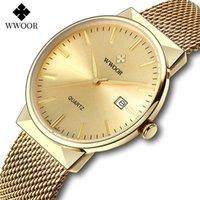 Wwoor Luxus Gold Uhr Männer Casual Golden Mesh Steel Ultra Dünne Wasserdichte Automatik Datum Quarz Armbanduhren Relogio Masculino 210527