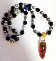 Handmade Glass Green Jellyfish Vogue Drop Design Black Beads Pendant Strand Ornaments Cool Jewelry