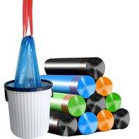450*500mm Stringing Trash Bags Garbage Bag Storage Kitchen Garbage Box 15pcs roll Household Disposable PE Drawstring Handles