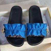 En Kaliteli Dantelli Saten Slaytlar Sandalet Kadınlar Vertigo Terlik Pembe Kahverengi Slip-On Düz Ayakkabı Tasarımcılar Gold Stoper Ve İpli 316 ile Geniş Bantlı Terlik 316