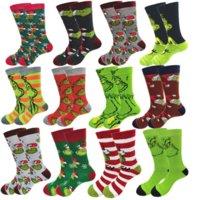 DHL Fast Cotton Down Yarn men Grinch Christmas socks Spring Autumn and Winter wear Funny Anime Street Wind Skateboard in the tube socks CO19