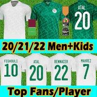 21/22 Cezayir Maillot de Futbol Futbol Formaları Fanlar Oyuncu Sürüm 2 Yıldız Ev Beyaz Mahrez Bounedjah Bouazza 19 20 Cezayir Erkekler Kids Kits Üniformalar S-2XL