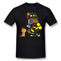 Men's T-Shirts Rescues Kitten Anime T Shirt Men Women Fashion Cotton Oversized Kids Boy Hip Hop Tees Firefighter Hero Print Tops
