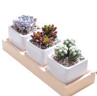 3 Grids Flower Pots Box Tray Wooden Succulent Plant Fleshy Flowerpot Containers Home Decor BWB7029