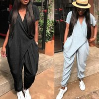 Yaz Tulum Kadın Tulumlar Moda Katı V Boyun Gevşek Seksi Kadın Playsuits Casual Kadın Tulum Tulum Artı Boyutu Q84S #
