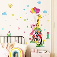 Wall Stickers Colorful Cat Giraffe Sticker Waterproof PVC Wallpaper Home Decor For Baby's Rooms Removable Decals
