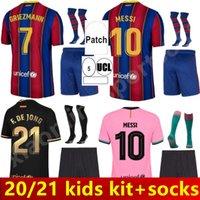 2021 Jersey de fútbol Griezmann F. De Jong Trincão Piqué 20 21Barcelona Dest Sergio Ansu Fati Adult Kids Kit + Calcetines Camisa de fútbol de alta calidad