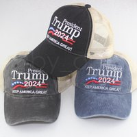 Donald Trump 2024 Baseball Cap Washed Outdoor Sports Hat Keep America First Embroidered Trump Mesh Hats Party Favor RRA4345