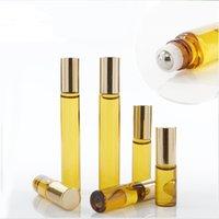 fragrance PERFUME bottle 3ML 5ml 10ML Mini Roll On Glass Amber Brown THICK ESSENTIAL OIL Steel Metal Roller ball BOTTLES DH8576