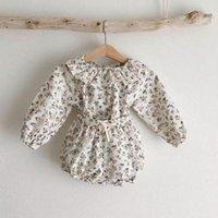 MILANCEL 2021 Spring New Baby Girls Clothing Set Blouse and Shorts 2 Pcs Floral Suit Peter Pan Collar 210427
