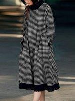 Frauen Plaid Print Spitze Patchwork High Hals Langarm Langarm Casual Kleid mit Tasche