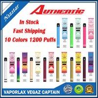 Аутентичные Vaporlax Vegaz Captain Одноразовый POD Устройство набор устройств 700 мАч Батарея 4 мл 1200 Заголовок изготовленных картриджей для картриджа Слованная ручка Pen Plus Plus Mate 100%