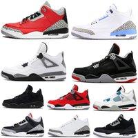 4s 4 Union Neon Bred Yangın Kırmızı Beyaz Çimento Erkek Basketbol Ayakkabıları 3 3s UNC Erkekler Spor Kadın Sneakers ile Kutusu