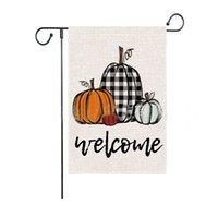 Fall Pumpkins Сад флаг осень приветствия Буффало Проверить Благодарения Двор Флаги Ферма Двухсторонняя решетка Вертикальный Открытый Декор Бесплатный DHL HH21-637