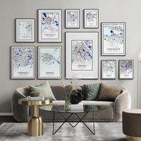 Минималистский черный и белый мир карта города плакат холст живопись стена искусства печати Nordic декоративная картина для офиса домашнего декора картины