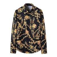 Мужские платья рубашки смокинг рубашка роскошь цветочные рубашки мужчины Royal Crown Print рубашка мужская барочная вечеринка деловая техника Homme 210323