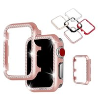 Luxury Aluminum Bling Diamond Bumper Case For Apple Watch Series 6 SE 5 4 3 2 1 Metal Crystal Cover Fit iwatch 38mm 42mm 40mm 44mm