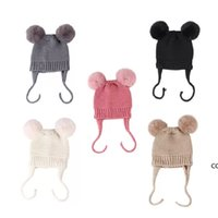 children Autumn winter caps baby woolen hats Pure color acrylic double ball warm knit hat for children DHF10326