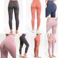 Lu Bayan Lulu Tayt Cep Yoga Pantolon Kadın Hizansa Yüksek Bel Kaldırma Kalça Hizalama Streç Koşu Spor Fitness VFU Ekleme Pantolon Şeftali