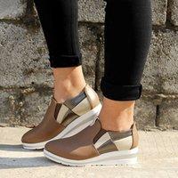 ربيع وصيف كبير أحذية واحدة منحدر كعب اللون مطابقة الكعك lefu أحذية النساء الرياضة