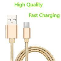 Nylon trenzado 2A Tipo USB de alta velocidad Cable C 1 M 2M 3M Sincronización de datos Micro USB Cable de cargador rápido para tableta Android Caja de metal USB Cable de cables