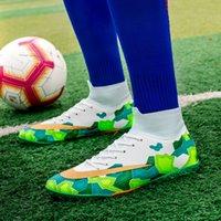 2021 Erkekler Futbol Ayakkabı Futbol Çizmeler Cleats Ayak Bileği Uzun Spike TF Spikes Yüksek Üst Sneakers Yumuşak Kapalı Çim Futsal Çocuk Futbol