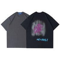 Kontrast Moda Ulusal İngilizce Renk Mürekkep Fırçası Yuvarlak Boyun Eğilim Pamuk Gevşek Kısa Kollu ve Kadın T-Shirt