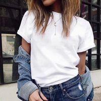 Women's T-Shirt White T Shirt Women Men Summer Short Sleeve Solid Simple Ladies Tshirt Casual Tops For Woman Korean Basic Couple Shirts