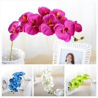 2pcs 93cm Long Flower Crafts Fake Phalaenopsis Orchid Lifelike Artificial Silk Bouquet Wedding Home Party Decor Gift Decorative Flowers & Wr