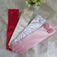 Bridal Gloves Long Bow - Tied Children's Dress Satin Pink White Ceremonial Girl Wedding