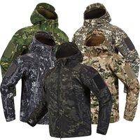 Lurker Shark Skin Soft Shell Tactical Jacket Mężczyźni Wodoodporny Windbreaker Fleece Płaszcz Polowanie Ubrania Kamuflaż Army Wojskowy