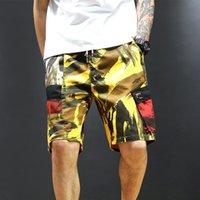مخرج الأزياء 21ss وزرة الرجال أزياء العلامة التجارية فضفاضة مستقيم السراويل عارضة الاتجاه capris الرجال السراويل الصيف شاطئ السراويل