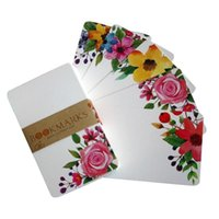 Greeting Cards 50pcs pack Scrapbook Writing Flower Printed Paper Card Square Bouquet DIY Party Supply Blank Wedding Invitation Message