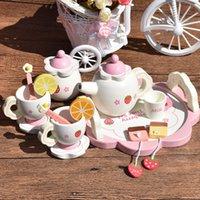 Qwz bebê brinquedos chá placas de festa canecas xícaras brinquedos de madeira fingir jogar jogar cozinha bebê bebê brinquedos bebê aniversário presentes de natal lj201009