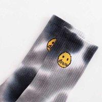 Gelgit drew bieber aynı kravat boya gülümseyen yüz erkek ve kadın sokakta pamuk moda her türlü spor çorapları