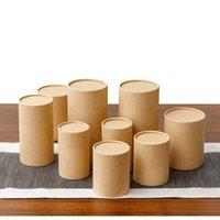 10 unids / lote TUBO DE PAPEL KRAFT Cilindro redondo Caja de té Caja de contenedores de contenedor de café biodegradable Embalaje de cartón para dibujo / camiseta / de incienso regalo envoltura