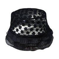 Japanese Lolita Embroidery Floral Lace Bucket Hat Women Layered Ruffles Sun Cap Wide Brim Hats