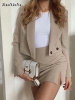 Vestido de dos piezas Oficina de estilo coreano, señora Blazer, trajes, conjunto, vendaje de manga larga y falda de traje de alta cintura alta, trajes