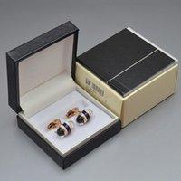 العلامة التجارية أزرار أكمام جيدة بيع كريستال صفعة الروابط مع مربع الرجال الأكمام أزرار المجوهرات الفاخرة