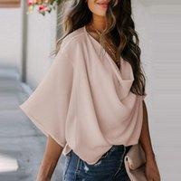 Women's Blouses & Shirts Women Fashion 2021 Summer Casual Loose Draped Chiffon Female Half Sleeve Folds V-neck Tops S-XXL