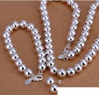 Bracelet Earrings & Necklace 925 sterling silver '10MM prayer beads three-piece hollow -Men jewelry set DFMSS082 Factory direct 925silver