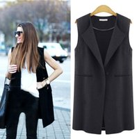 Women's Vests 2021 British Style Women Sleeveless Waistcoat Casual Cardigan Tops Long Solid Color Ladies Coat Chalecos Para Mujer