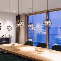 مصابيح قلادة الشمال الإبداعية الخفيفة الفاخرة مقعر محدب كروي الكرة غرفة نوم الثريا الفن غرفة الطعام السرير صغير